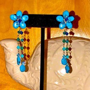 NOVICA Genuine Turquoise Flower Blossom Earrings